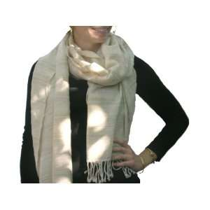 Avani Wild Silk & Tibetan Wool Shawl   Winter White