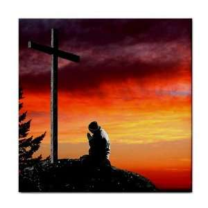 Man praying at cross christian Ceramic Tile Coaster Great