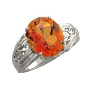 15 Ct Oval Twilight Orange Mystic Quartz 18k White Gold Ring Jewelry
