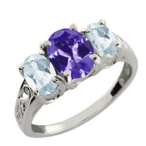 41 Ct Oval Blue Tanzanite and Sky Blue Aquamarine Argentium Silver