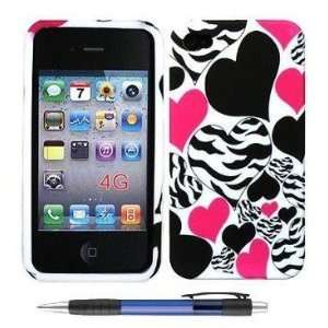 Hot Pink Black Hearts Zebra Silicone Protector Soft Cover