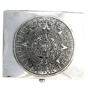Solid 925 Sterling Silver Aztec Designed Storage Box Jewelry