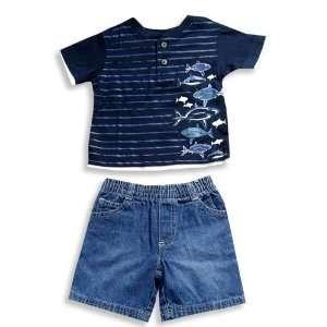 Faded Glory   Infant Boys Short Sleeve Jean Short Set