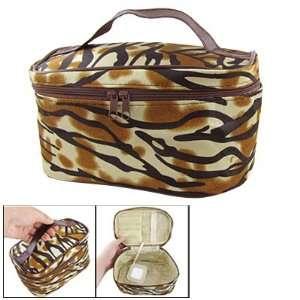 Women Brown Black Tiger Print Cosmetic Makeup Handbag