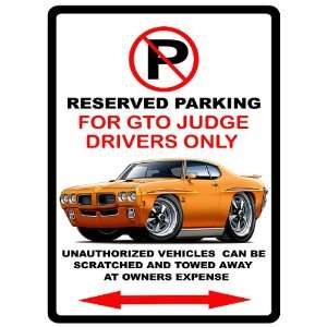 1970 Pontiac GTO Judge Muscle Car toon No Parking Sign