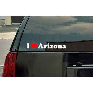 I Love Arizona Vinyl Decal   White with a red heart Automotive