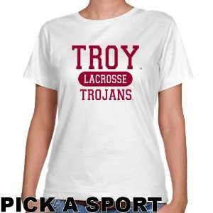 Troy University Trojans Ladies White Custom Sport Classic Fit T shirt