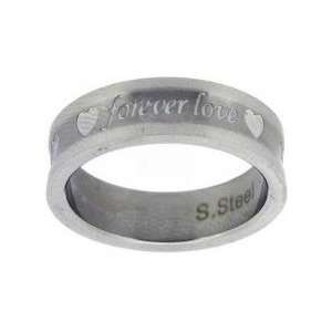 sculpted Forever Love and Hearts ring in Stainless Steel