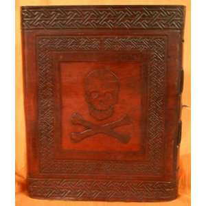 Jolly Roger Pirate Skull and Crossbones Leather Journal Large 8 x 10