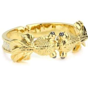 KARA by Kara Ross Double Head Fish with Gold Washed Ring Lizard Cuff