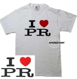 HEART PR TEE LOVE PUERTO RICO UNISEX WHITE T SHIRT M