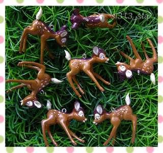 4pcs Deer Plastic Charms, Dark Brown
