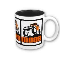Moab Jeep Orange on Black Mug by highaltitudes