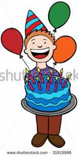 Birthday Party Kid  Child Holding A Cake. Stock Vector 31615996