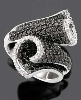 14k White Gold Ring, Black and White Diamond Scroll (2 1/3 ct. t.w