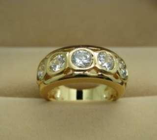 Round CZ 1.5 carats unisex wedding ring 9K gold GF SZQ