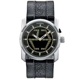 Mens Fossil Black Strap Watch analog & Digital