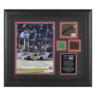 Race Winning Tire, Green Flag, and Autograph Plate