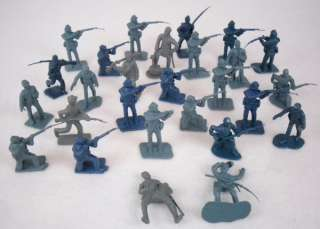 27 Vintage Blue Gray & Green Plastic Civil War Army Men Toy Soldiers