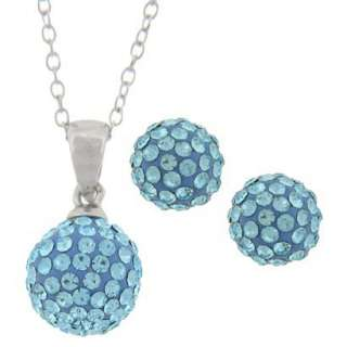 Sterling Silver Blue Crystal Ball Pendant And Earring Set.Opens in a