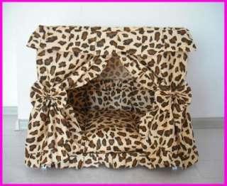 Leopard Print Pet Dog Cat Handmade Bed Furniture House + pillow