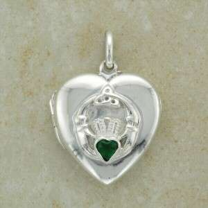 Small Silver CLADDAGH Irish Locket Pendant w/ Emerald Cubic Zirconia