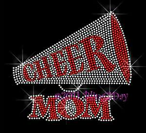 RED CHEER MEGAPHONE MOM RHINESTONE IRON ON TRANSFERS SCHOOL HOT FIX