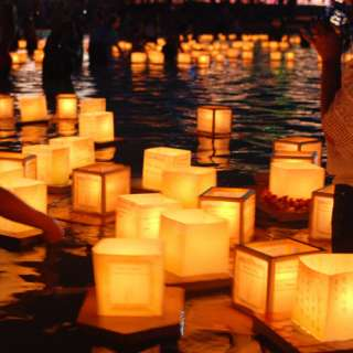 10 SQUARE CHINESE lanterns wishing floating water River paper candle