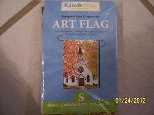 NEW IN PACKAGE* LITTLE WHITE CHURCH SMALL GARDEN FLAG   12.5 in. x 18