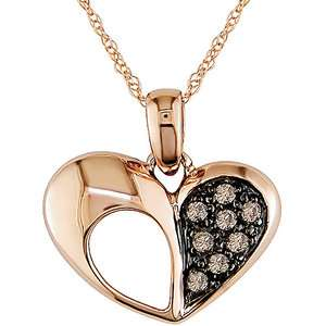 Brown Diamond Heart Pendant in 10kt Pink Gold Pendants & Necklaces