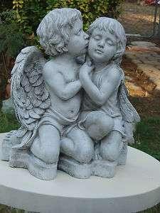 FIRST KISS TO GIRL BY BOY CHERUB ANGEL CONCRETE STATUE