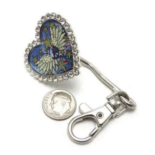 RHINESTONE HEART WINGS WESTERN PURSE KEY RING FINDER
