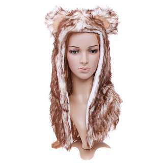 Multifunctional Cartoon Animal Wolf Plush Soft Warm Cap Hat Earmuff