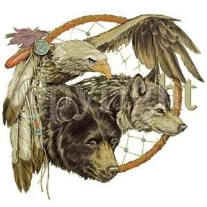 SHIRT   NATIVE Wolf, Eagle, Bear Dreamcatcher   SM XL