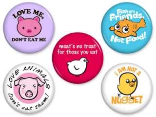 PINS Set #1 Vegan Vegetarian Ethical Pinback Button Badge Lot