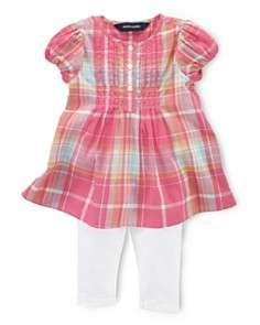 Ralph Lauren Childrenswear Infant Girls Plaid Dress & Leggings Set