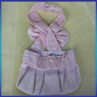 Cute Pink Girl Pet Dog Puppy Skirt Strap Dress Bowknot Clothes Apparel
