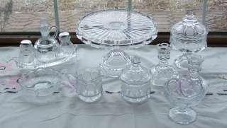 12 RARE Pcs Fostoria Coin Glass Crystal Cake Stand Condiment Set