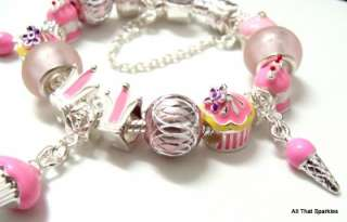 Party Birthday Cake Cupcake Ice Cream Charm Bracelet