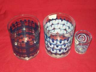 Diane Artware Blue Delft Martini Pitcher + 3 Glasses