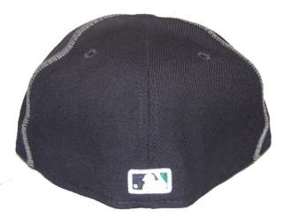 Seattle Mariners Hat Z Stitch New Era 5950 Fitted Navy Cap