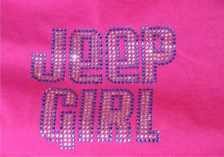 COLOR RHINESTONE EXTREME BLING JEEP GIRL WOMENS TEE SHIRT