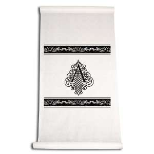 Aisle Runner, Fancy Font Letter A, White with Black: Home & Kitchen