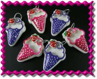 6pcs Lucite Fuchsia/Purple Cone Ice Cream Charm