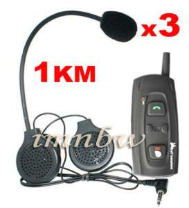 3x Motorcycle Helmet Bluetooth Headset Intercom 1000M