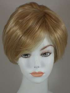 Light Golden Blond Short Straight Bob Style Wig w/Bangs