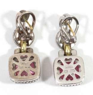 JUDITH RIPKA Sterling Silver & 18K Gold Earrings w/Pink Tourmaline