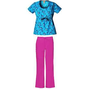 Womens Scoop Neck Floral Snoopy Scrub Shirt and Womens