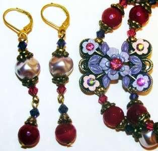 Swarovski Florals~Pink Purple Crystals~Bracelet Earring~Bronze
