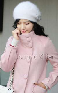 Nwt fashion korean womens long trench coat button jacket woolen 4color